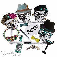 Esqueleto Tripulación Cabina fotográfica-Spooky Halloween Fiesta Máscaras, Accesorios/marco-Selfie-Juego