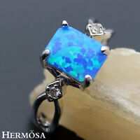 FIRE AUSTRALIAN OPAL & WHITE TOPAZ HERMOSA NEW .925 STERLING SILVER RING Size 8#