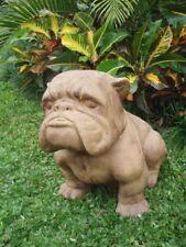 Grosser Hund Steinfigur Lavastein Bulldogge Statue massiv schwer Garten Deko