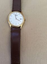 "Vtg Seiko ""360647"" Gold Plated White Face Slim Quartz DateJust Gents Dress Watch"