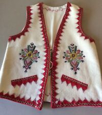 Vintage Polish Cream Vest Floral Hand Embroidered Wool Folk Size Small