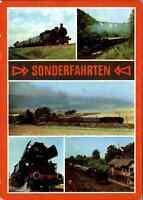 """EISENBAHN Motiv AK DDR Traditionsbahnen """"Sonderfahrten"""" color Mehrbildkarte"""