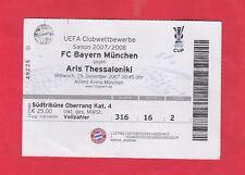 ORIG. ticket UEFA Cup 2007/08 bayern munich-Aris Salónica rara vez!!!
