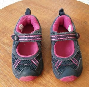 STRIDE RITE KID'S BLUE/PINK TRIM MARY JANE SHOES SZ 7 M EXCEL COND