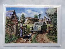 Nostalgique ouvrir la porte Mate farm Land rover design ouverte Vide Carte D'Anniversaire