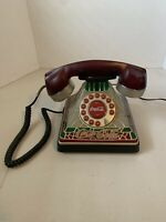 Vintage Design Coca-Cola Tiffany Stained Style Glass Look Light Up Telephone