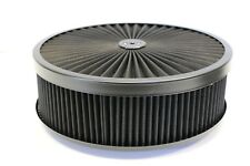 "14"" X 4"" Round Black High Flow Thru Washable Air Cleaner Flat Base Lid SBC 350"