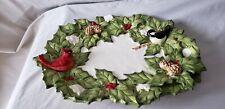 Cracker Barrel Holiday Garden Platter w/ Holly Berries & Leaves, Red Cardinal