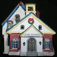 Christmas Village Olde School House Lemax Porcelain Light 1993 Mint Cond 35091