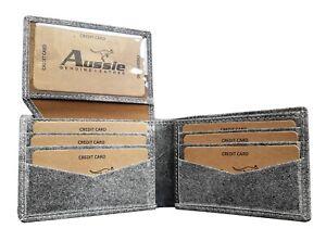 Italian Classic Leather Mens Purse Bifold Credit Card Wallet RFID Blocking grey