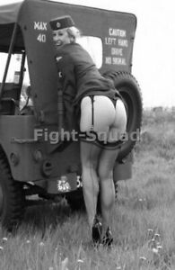 WW2 Picture Photo Military Uniform Stocking Legs Rear Jeep Woman Pin-up 3160