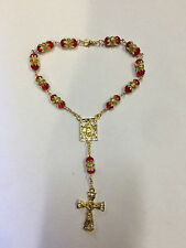 Red Crystal Glass Religious ROSARY Beads With Crucifix In Gift Box