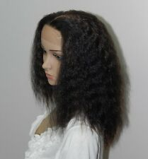 Handsewn synthetic full lace front kinky wigs 9118#1B