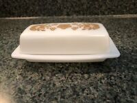 Vintage Pyrex by Corning BUTTERFLY GOLD Butter Dish w/ Lid USA 35