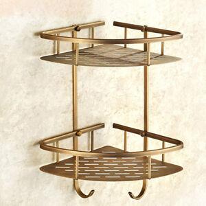 Bathroom Corner Shelf Shower Basket 2 Tier Wall Mounted Storage Rack Solid