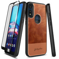 For Motorola Moto E 2020 Phone Case Shockproof Leather Cover + Tempered Glass