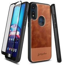 For Motorola Moto E 2020 Case Leather Phone Cover + Tempered Glass Protector