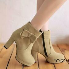 Womens Faux Suede Ankle Boots Bow Knot Zipper Block High Heels Sweat Party Shoes