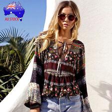 Bohemian Womens Vintage Long Sleeve Retro V-neck Casual Blouse Loose Tops Shirt Regular L