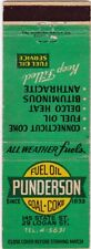 VTG MATCHBOOK COVER - PUNDERSON FUEL OIL COAL COKE - SPRINGFIELD MASSACHUSETTS
