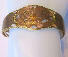 ENAMEL CLOISONNE pink lavender HIBISCUS hinged clamper bracelet bangle vintage