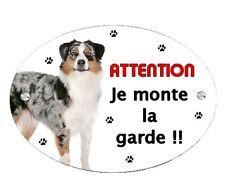 Plaque Attention au chien Berger australien personnalisée avec votre texte