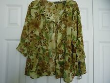 **NEW**Womans size 24 Two Piece Dress  Matching Jacket in Green & Brown Floral
