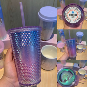 Hot!Starbucks Tumbler Aurora Gradient Purple Bling Diamond studded 16oz Cold Cup