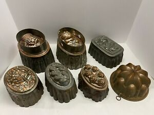 Group Of 7 Beautiful Antique Butter / Jello Molds