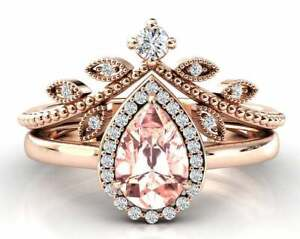 2.50 Ct Pear Cut Morganite Bridal Promise Ring Set For Womens 14K Rose Gold Over