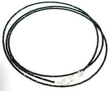 925 Sterling Silver Black Spinel Gemstone 46 cm Strand Necklace 2 mm Round Beads