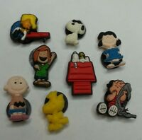 6pc PEANUTS SHOE CHARMS Lot set CHARLIE BROWN WOODSTOCK LINUS SCHROEDER SNOOPY