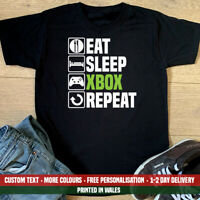 Eat Sleep XBOX Repeat T Shirt Funny Gaming Gamer Fathers Day Dad Birthday Gift