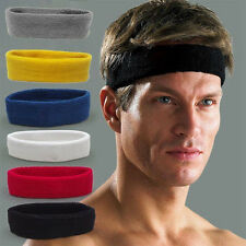 Cyling Men Women Cotton Sport Sweat Sweatband Headband Yoga Stretch Head Band UK