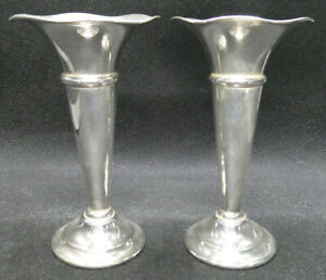 Two Vintage EPNS Fluted Vases or Candle Holders