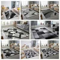 GREY BLACK MODERN DESIGN RUG SOFT LARGE LIVING ROOM FLOOR BEDROOM CARPET RUGS
