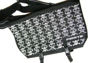 Pirate logo Large Black Bike Messenger Bag Reflective