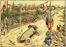 """jeu de societe: racing cars"" chromo-litho original entoilée 48x36cm"