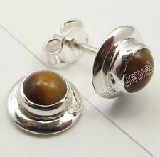 "925 Solid Silver Genuine TIGER'S EYE LADIES' Studs Post Earrings 0.4"" BIJOUX"