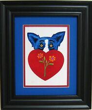 "GEORGE RODRIGUE BLUE DOG VALENTINE CARD -FRAMED -ROYAL BLUE MAT -11.25"" x 13.25"""