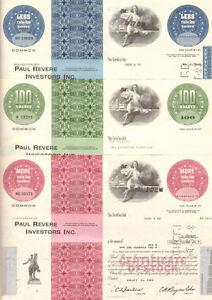 PAUL REVERE INVESTORS > lot of 3 MA stock certificates