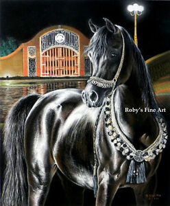 """Midnight Jewel"" Arabian Horse Art Print 8"" x 10"" Equine Image By Roby Baer PSA"
