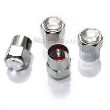 4 Bling Crystal Clear White Diamond Tire/Wheel Air Stem Valve CAPS for Auto-Car