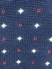 Brioni Mens Silk Designer Necktie Italy Navy Blue White Red Tie EUC
