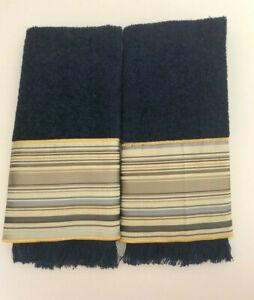 "Avanti Fingertip Towels Embroidered Bathroom 11x18"" Set of 2 Navy Satin Striped"