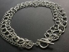 SILVER CHUNKY Multi CHAIN Choker Necklace With Toggle T Bar Fastener Boho Bijoux