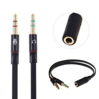 3.5mm Stereo Audio 2 Male-Female Headset Mic Y Splitter Jack Cable Adapter