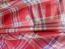 """100% Cotton Lawn Fabric Yarn Dyed Red Blue Yellow Plaid 57"""" Wide By The Yard"""