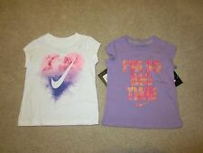 NWT NEW Lot of 2 Nike Girls White Tie-Dye Heart Purple Top Tee T Shirt 2T