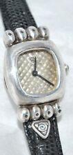 M. Bromberg Sterling Silver Watch Textured Dial Lizard Band Sterling Buckle